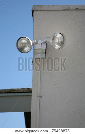 motion sensing lights attached to a house