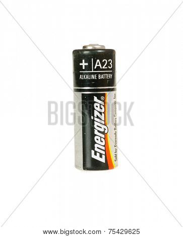 Hayward, CA - October 27, 2014: Energizer brand Alkaline A23 style battery