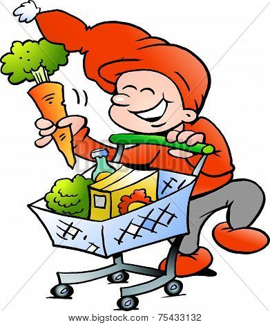 Hand-drawn Vector Illustration Of An Happy Christmas Elf On Shopping Tour