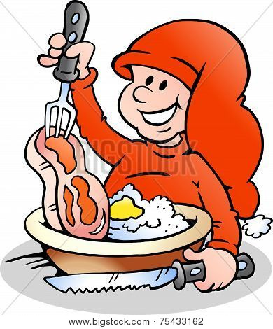 Hand-drawn Vector Illustration Of An Happy Christmas Elf Cooking
