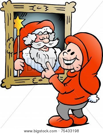 Hand-drawn Vector Illustration Of An Happy Christmas Elf Looking At A Picture Of Father Santa Claus
