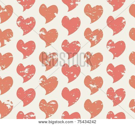 Grunge seamless pattern with handdrawing hearts
