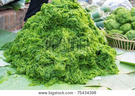 Freshwater Algae (spirogyra Neglecta) In Local Market Thailand
