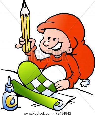 Hand-drawn Vector Illustration Of An Happy Christmas Elf  Doing Christmas Heart