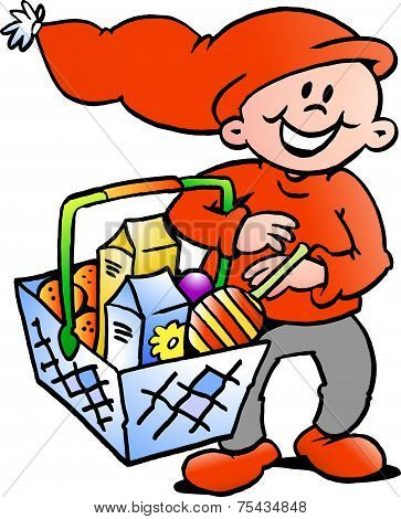 Hand-drawn Vector Illustration Of An Happy Christmas Elf  With A Shopping Basket