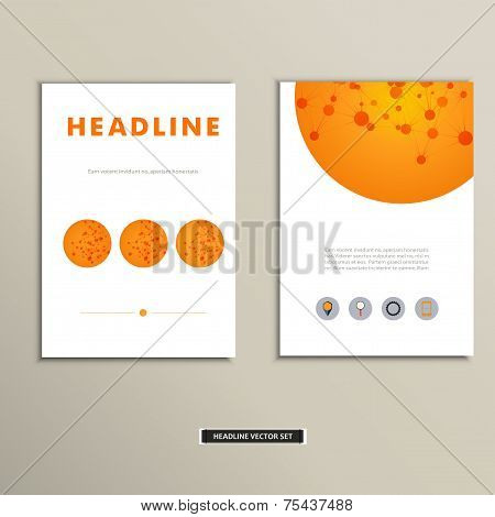 Set of vector artwork with molecular background
