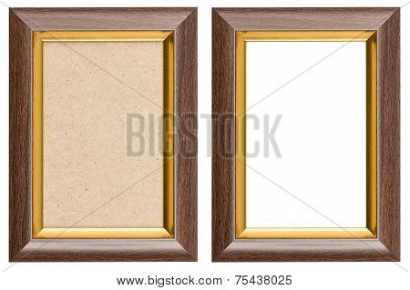 Wooden Brown And Golden Picture Frame With And Without Fiberboard Background, Isolated