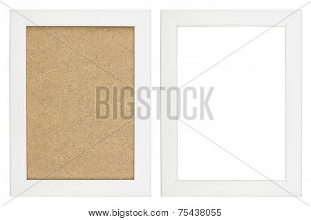 Wooden White Picture Frame With And Without Fiberboard Background, Isolated