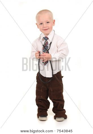Standing Child Pretending To Be A Doctor