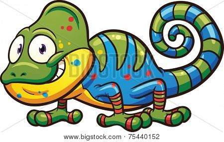 Cartoon chameleon. Vector clip art illustration with simple gradients. All in a single layer.