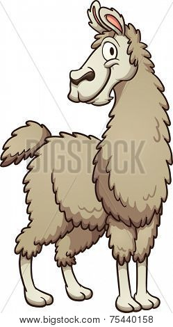 Smiling cartoon llama. Vector clip art illustration with simple gradients. All in a single layer.