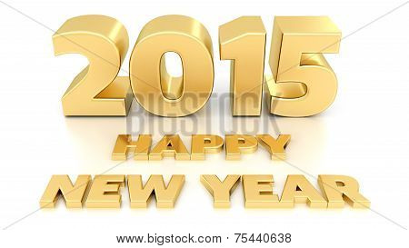 Happy New Year 2015. Isolated 3D Design Template On White Background.