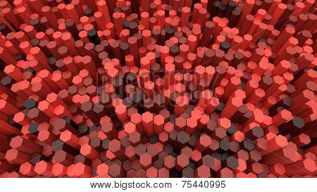 3D Background Hexagons Of Different Height