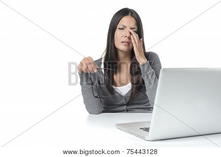 Woman Suffering From Eye Strain At Her Laptop