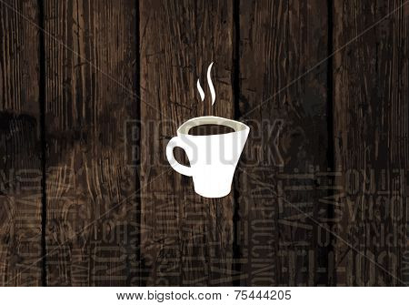 Coffee Cup On Wooden Planks Texture. Coffeeshop Business Card Template. Vector