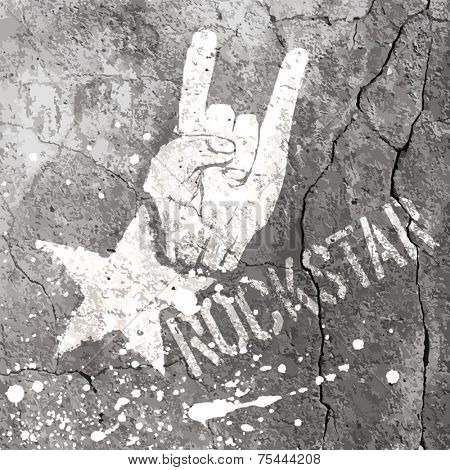 Rockstar symbol with sign of the horns gesture. Vector template with concrete texture.