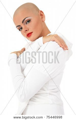 Young beautiful skinhead woman over white background