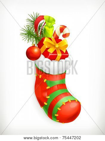Christmas sock with gifts, vector icon