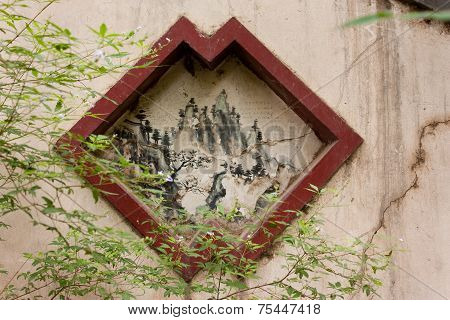 Drawing Inset Into Cracked Wall, Beijing