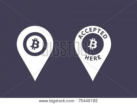 Bitcoins accepted here signs. Virtual currency icons. Vector illustration