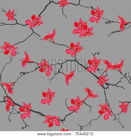Red cotton tree chinese seamless pattern