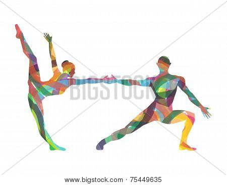 abstract Silhouettes of dancers