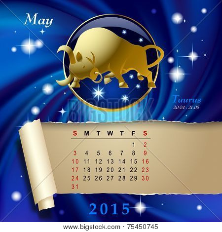 Simple monthly page of 2015 Calendar with gold zodiacal sign against the blue star space background. Design of May month page with Taurus figure. Vector illustration