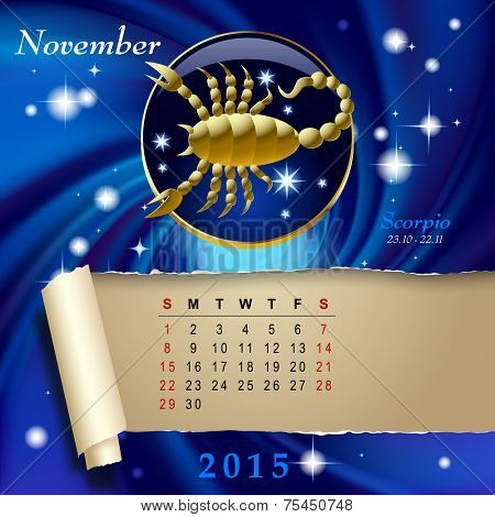Simple monthly page of 2015 Calendar with gold zodiacal sign against the blue star space background. Design of November month page with Scorpio figure. Vector illustration Vector illustration