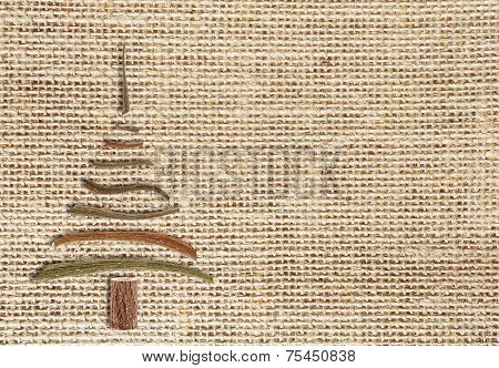 Natural Burlap Background  With Christmas Tree  And Copy Space