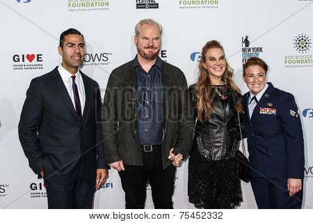 NEW YORK, NY - NOVEMBER 05: (L-R) J.W. Cortes, comedian Jim Gaffigan, Jeannie Noth and Amanda Martino  attend  the 8th Annual Stand Up For Heroes Event   on November 5, 2014 in New York City.