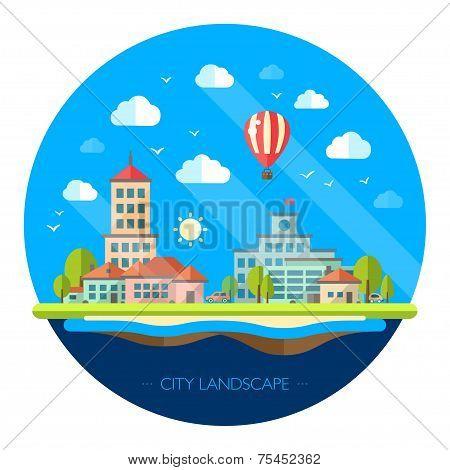 Illustration of flat design urban landscape