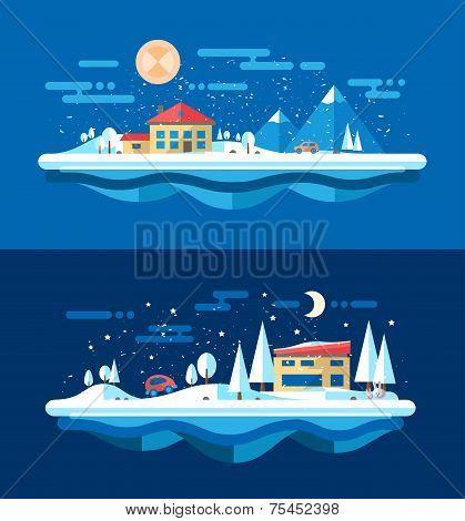 Illustration of flat design urban winter landscape compositions