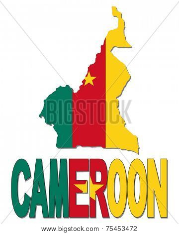 Cameroon map flag and text vector illustration