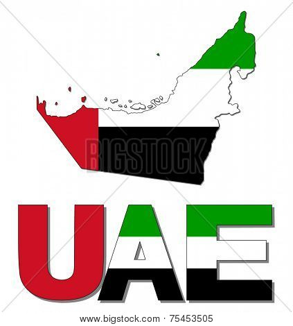 UAE map flag and text vector illustration