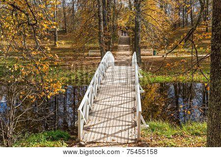 White Wooden Bridge, The Park Of The Estate Mikhailovskoye, Pushkinskiye Mountains