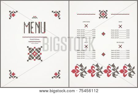 Menu design- traditional embroidered elements