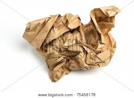 Crumpled ball of brown paper, irregular shape