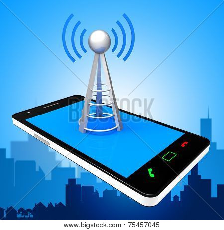 Smartphone Wifi Indicates World Wide Web And Antenna