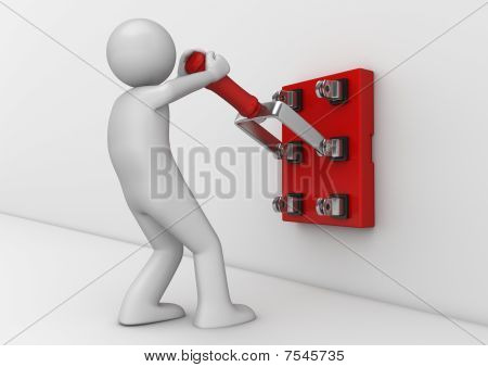 Business Collection - Electrician With Knife Switch