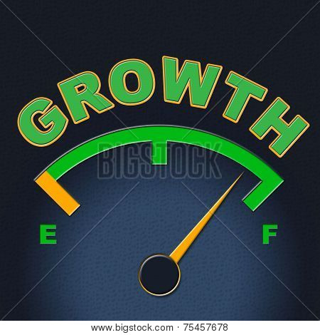Growth Gauge Indicates Meter Scale And Indicator