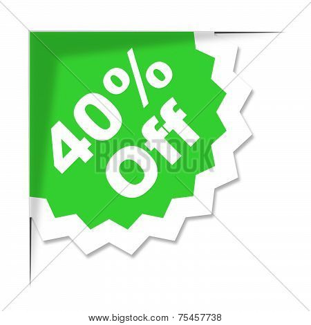 Forty Percent Off Represents Promotional Discount And Discounts