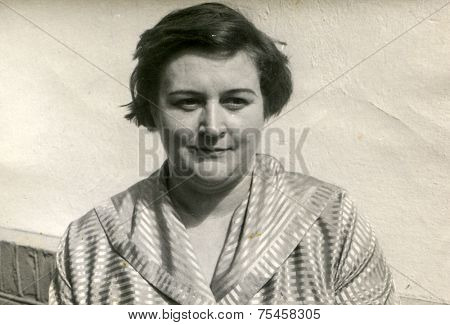 LODZ, POLAND, CIRCA FIFTIES: Vintage photo of woman
