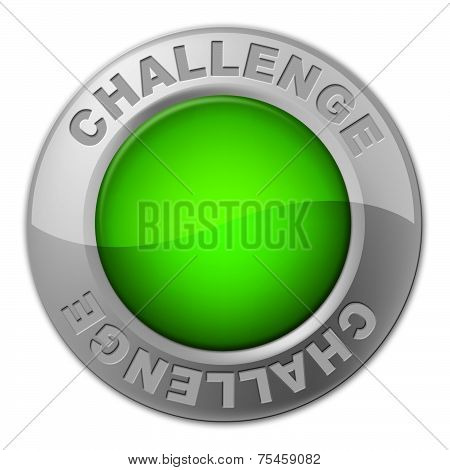 Challenge Button Indicates Overcome Obstacles And Challenges