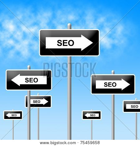 Seo Sign Shows World Wide Web And Network