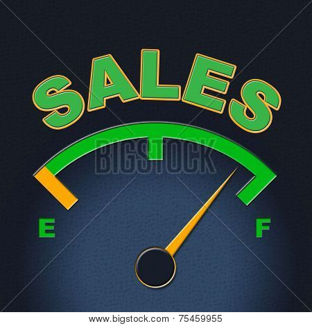 Sales Gauge Means Promotion Meter And Scale