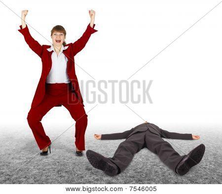 Man Beaten - Woman Exults. Outcome Of Dispute.