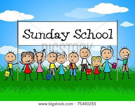 Sunday School Banner Indicates Youths Child And Faith