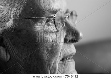 Elderly  Lady Laughing Side View