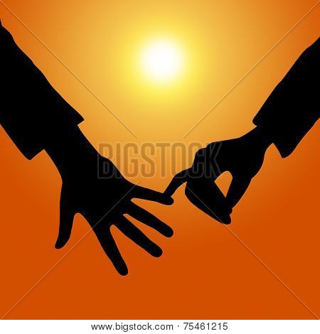 Holding Hands Shows Tenderness Together And Fondness