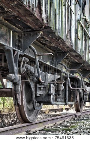 Rusty Wheels Of Abandoned Train